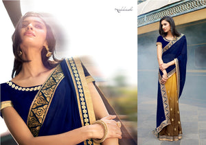N4052 Ethnic Shaded Mustard Navy Blue Georgette Saree - Fashion Nation