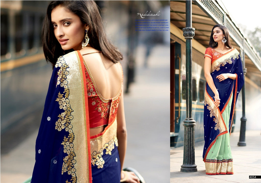 N4054 Ethnic Blue Rust Georgette Saree - Fashion Nation.in