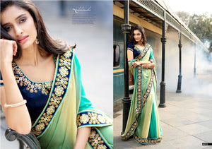 N4055 Ethnic Shaded Blue Beige Green Jacquard Saree - Fashion Nation