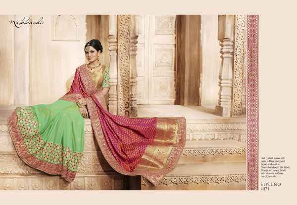 Traditional NAK4071 Nakkashi Rani Green Beige Silk Jacquard Handloom Saree - Fashion Nation