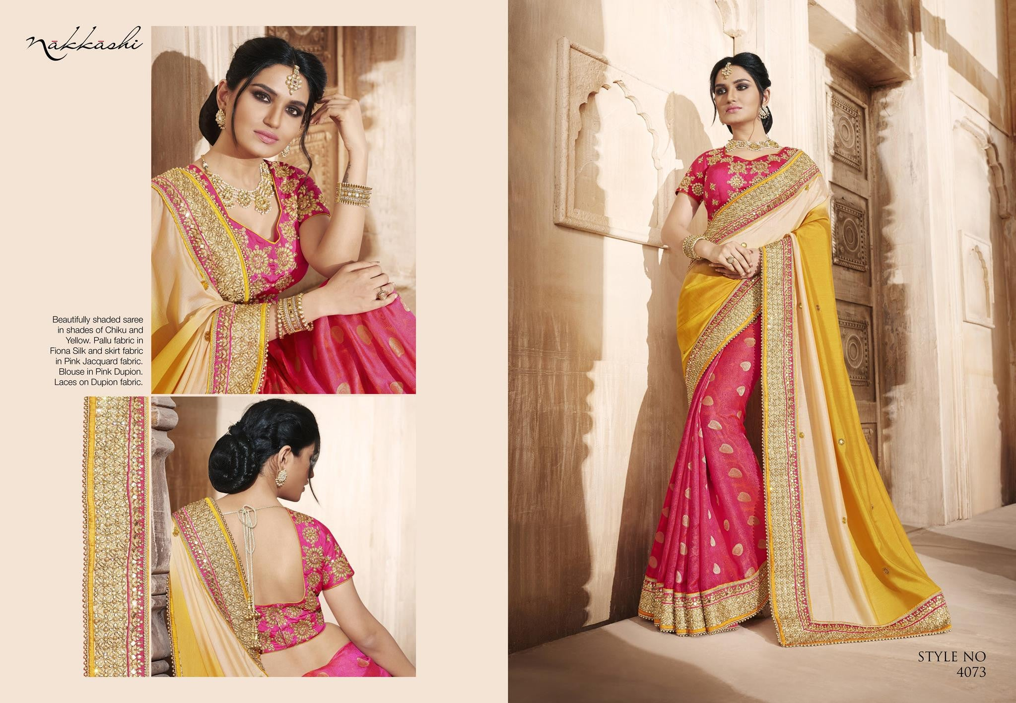 Excellent NAK4073 Nakkashi Shaded Beige Yellow Pink Silk Jacquard Saree - Fashion Nation