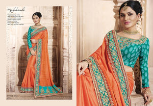 Bright NAK4076 Nakkashi Blue Orange Handloom Silk Saree - Fashion Nation