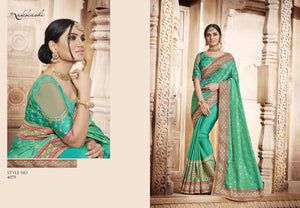 Genuine NAK4079 Nakkashi Green Silk Jacquard Handloom Silk Saree - Fashion Nation