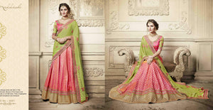 Bridal NAK4081 Designer Nakkashi Liril Green Georgette Silk Shaded Pink Brocade Lehenga Saree - Fashion Nation