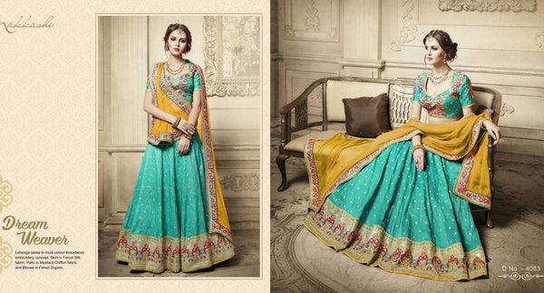 Wedding Special NAK4083 Designer Nakkashi Mustard Yellow Chiffon Blue Handloom Silk Lehenga Saree - Fashion Nation