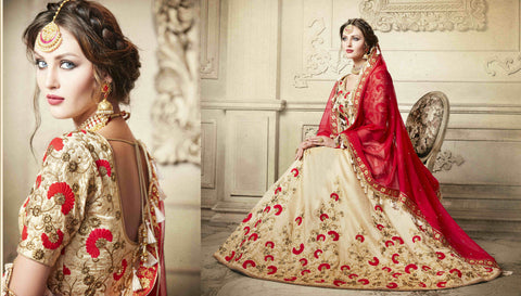 Finest NAK4085 Designer Nakkashi Red Chiffon Beige Handloom Silk Lehenga Saree - Fashion Nation