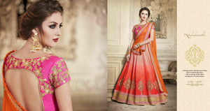 Partywear NAK4087 Designer Nakkashi Orange Chiffon Shaded Orange Handloom Silk Lehenga Saree - Fashion Nation