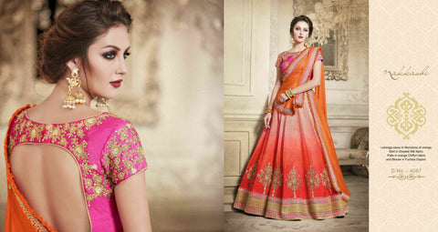 Partywear NAK4087 Designer Nakkashi Orange Chiffon Shaded Orange Handloom Silk Lehenga Saree