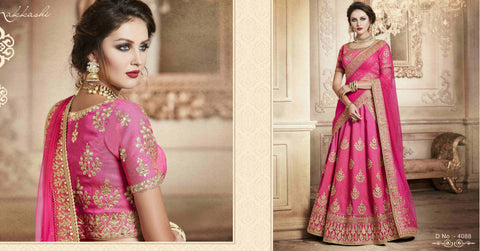 Traditional NAK4088 Designer Nakkashi Light Pink Net Handloom Silk Lehenga Saree