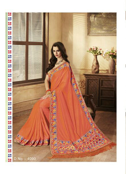 Ethnic Nakkashi Orange Beige Handloom Silk Saree