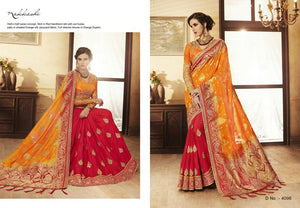 Indian NAK4096 Nakkashi Shaded Orange Silk Jacquard Red Handloom Silk Saree - Fashion Nation