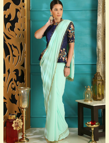 Fashionable RR4101 Party Wear Blue Georgette Silk Saree by Fashion Nation