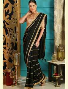 Elegant RR4102 Party Wear Black Peach Silk Saree by Fashion Nation