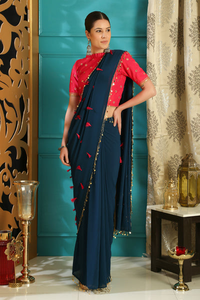Trendy RR4103 Party Wear Teal Blue Pink Georgette Silk Saree