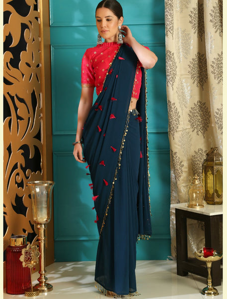 Trendy RR4103 Party Wear Teal Blue Pink Georgette Silk Saree by Fashion Nation