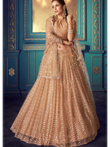 Party & Occasion Wear Beige Net Sequined Lehenga Choli - Fashion Nation