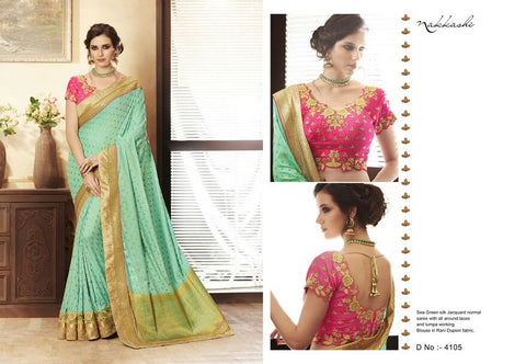 Fashionable NAK4105 Nakkashi Sea Green Jacquard Rani Pink Silk Saree