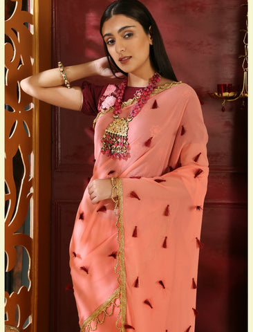 Festive RR4105 Party Wear Pink Maroon Georgette Velvet Saree by Fashion Nation