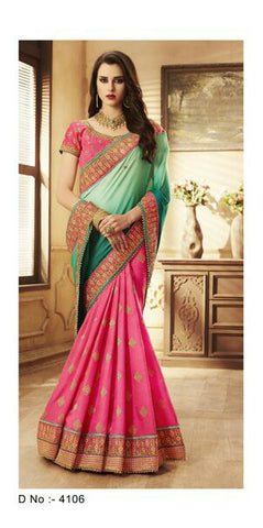 Trendy NAK4106 Nakkashi Shaded Green Georgette Pink Silk Jacquard Saree