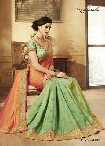 Sizzling NAK4107 Nakkashi Shaded Rani Pink Georgette Green Silk Jacquard Saree