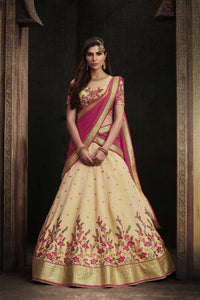 Festive NAK4108 Bridal Pink Beige Handloom Silk Chiffon Lehenga Choli - Fashion Nation