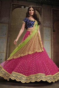 Traditional NAK4110 Bridal Navy Blue Pink Liril Green Net Silk Lehenga Choli