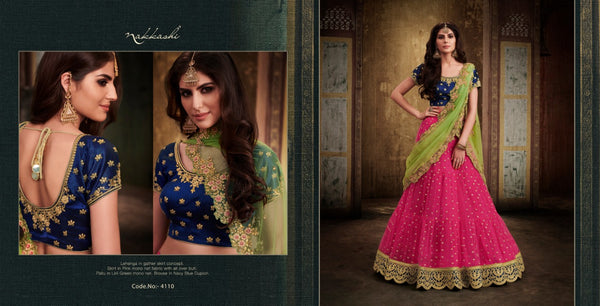 Traditional NAK4110 Bridal Navy Blue Pink Liril Green Net Silk Lehenga Choli by Fashion Nation