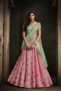 Splendid NAK4111 Bridal Rama Green Peach Satin Silk Net Lehenga Choli