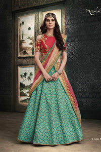 Great NAK4113 Bridal Rama Green Shaded Red Jacquard Silk Net Lehenga Choli by Fashion Nation
