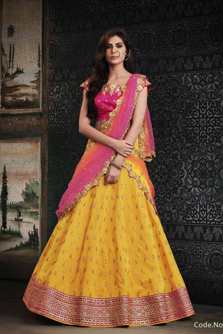 Colourful NAK4114 Bridal Shaded Pink Peach Yellow Handloom Silk Net Lehenga Choli - Fashion Nation