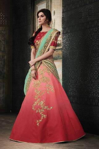 Stylish NAK4115 Bridal Shaded Red Rama Satin Silk Net Lehenga Choli by Fashion Nation