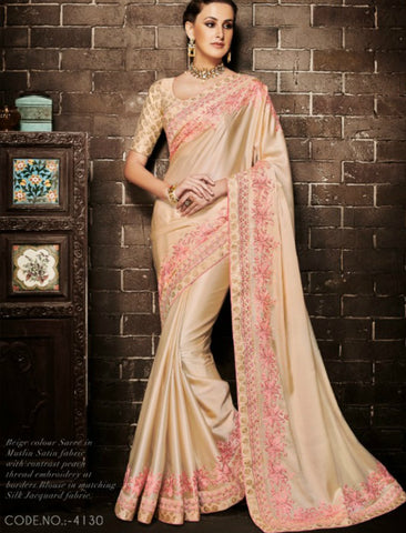 Nakkashi NAK4130 Partywear Beige Muslin Satin Silk Jacquard Saree by Fashion Nation