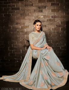 Nakkashi NAK4131 Designer Grey Muslin Satin Silk Jacquard Saree by Fashion Nation