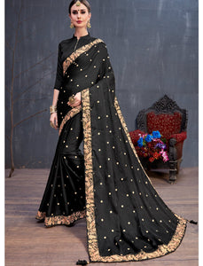 Unique RR4132 Party Wear Black Silk Saree - Fashion Nation