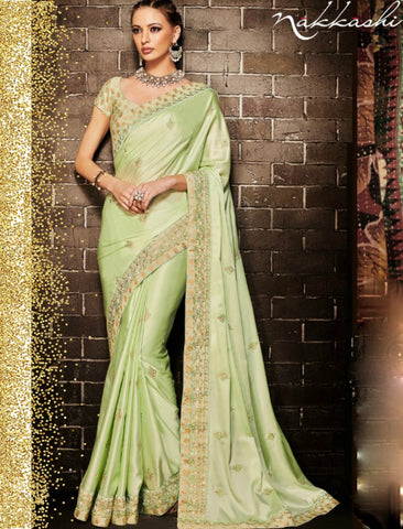 Nakkashi NAK4132 Handpicked Pista Green Muslin Satin Silk Jacquard Saree by Fashion Nation