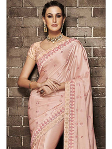 Nakkashi NAK4133 Curated Peach Muslin Satin Silk Jacquard Saree - Fashion Nation