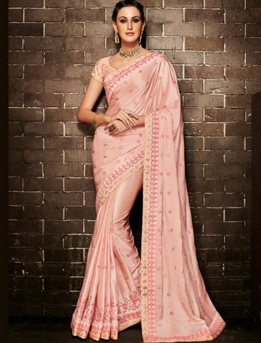 Nakkashi NAK4133 Curated Peach Muslin Satin Silk Jacquard Saree by Fashion Nation