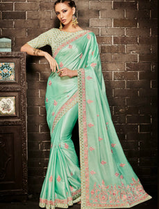 Nakkashi NAK4134 Beautiful Rama Green Muslin Satin Silk Jacquard Saree - Fashion Nation.in