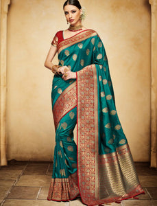 Nakkashi NAK4135 Designer Rama Green Red Silk Jacquard Saree - Fashion Nation.in