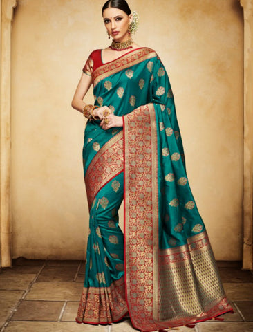 Nakkashi NAK4135 Designer Rama Green Red Silk Jacquard Saree by Fashion Nation