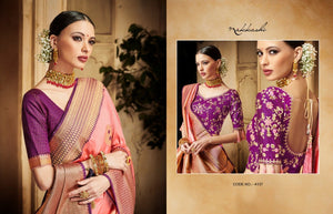 Nakkashi NAK4137 Designer Peach Purple Silk Jacquard Saree - Fashion Nation