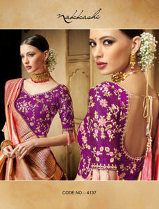 Nakkashi NAK4137 Designer Peach Purple Silk Jacquard Saree - Fashion Nation.in