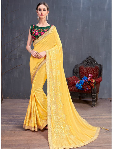 Festive RR4137 Party Wear Yellow Green Georgette Silk Saree by Fashion Nation