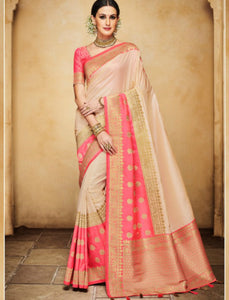 Superb Nakkashi NAK4138 Designer Rani Beige Silk Jacquard Saree - Fashion Nation.in