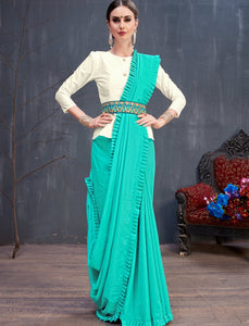 Stylish RR4138 Party Wear Sky Blue Off-White Cotton Silk Saree with Belt by Fashion Nation