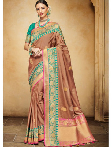 Fantastic Nakkashi NAK4139 Designer Brown Rama Green Silk Jacquard Saree - Fashion Nation.in