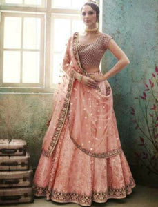 Dainty Nakkashi NAK4148 Bridal Beige Peach Satin Silk Net Lehenga Choli - Fashion Nation
