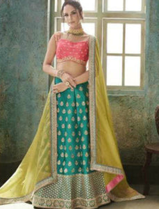 Pretty Nakkashi NAK4153 Designer Morpeach Satin Silk Lehenga Choli by Fashion Nation