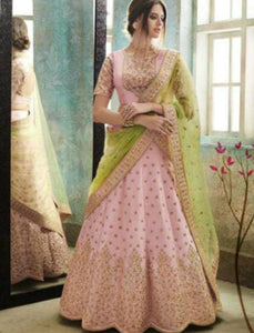 Fabulous Nakkashi NAK4155 Designer Pink Satin Silk Lehenga Choli - Fashion Nation