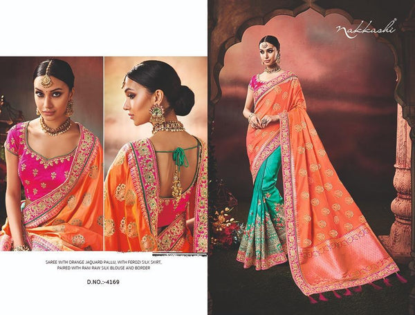 Pretty Nakkashi NAK4169 Designer Blue Silk Orange Jacquard Half Saree - Fashion Nation.in